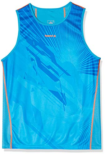 Luanvi Thunder - Camiseta de deporte sin mangas, Hombre, Turquesa y Naranja,S