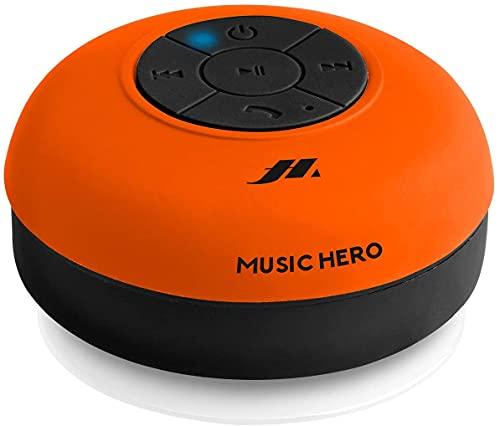 SBS Speaker 3W con Ventosa, Tasti per Musica e chiamate, Microfono Integrato e Vivavoce, protetto dall'Acqua per utilizzo in Doccia, Bagno, Piscina e Cucina, Arancione