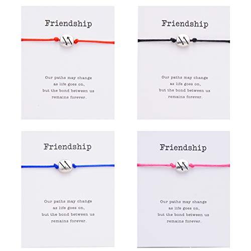 PIPITREE Friendship Bracelet Charm Bracelet for Best Friends - Bracelet Gift Card Braided Wish Bracelet for You Care Everyone(4Pcs) (two Awrro)
