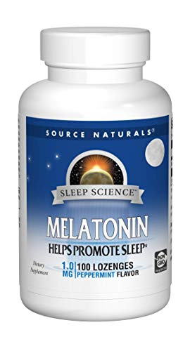 Source Naturals Sleep Science Melatonin 1mg Peppermint Flavor Promotes Restful Sleep and Relaxation - Supports Natural Sleep/Wake Patterns and Rhythms - 100 Lozenges