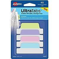 Avery UltraTabs 再配置可能なマージンタブ - 書き込み式タブ - タブ高さ1インチ x タブ幅2.50インチ - パステルタブ詰め合わせ - 48枚/パック