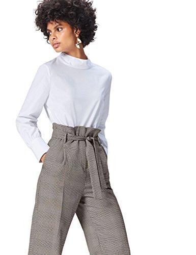 Amazon-Marke: find. Bluse Damen Popline-Oberteil mit Stehkragen, Weiß, 36, Label: S