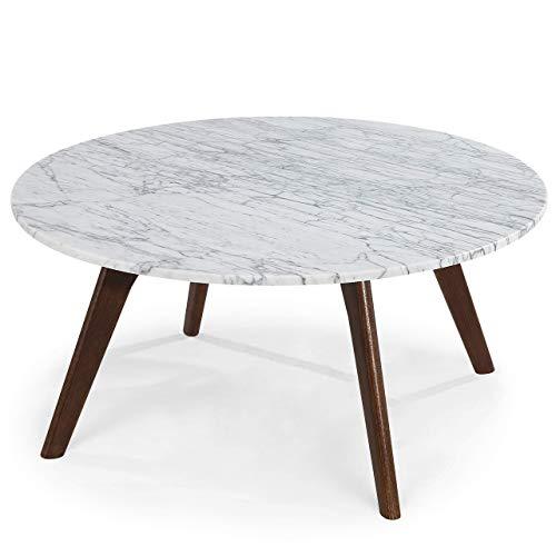 POLY & BARK Riley Marble Round Coffee Table, Walnut