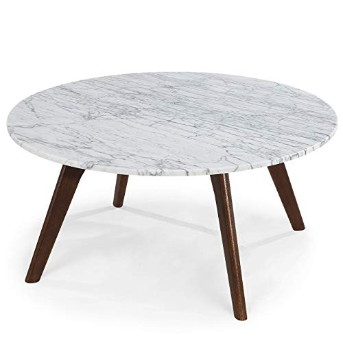 POLY & BARK Riley Marble Round Coffee Table, Walnut