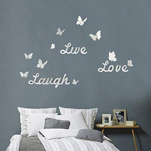 CUNYA 3D Acrylic Mirror Wall Stickers, DIY Love Live Laugh Letters and Butterfly Composed Wall Art Decals Wallpaper Home Decor for Living Room, Bedroom, Bathroom (Silver)