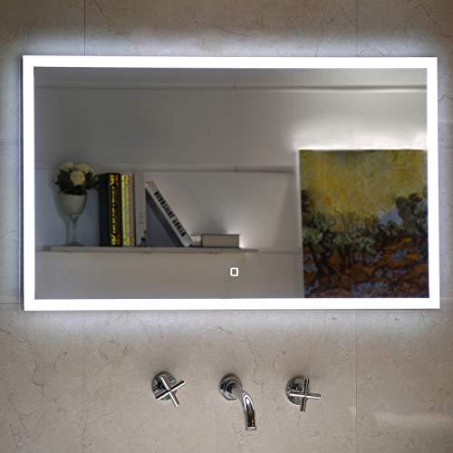 Badezimmerspiegel Badspiegel mit LED-Beleuchtung Touch-Schalter (80 x 60 cm)