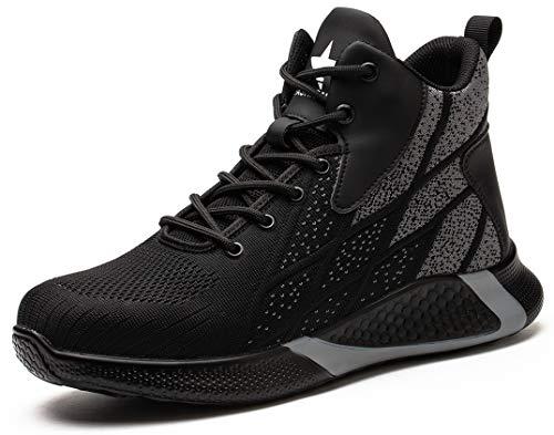 SUADEX オシャレ安全靴ハイカット あんぜん靴ブーツ 黒 ミドルカット作業靴 ショートブーツ 安全 作業はいカット 安全半長靴 鋼先芯 耐摩耗 ケブラー防刺 耐滑