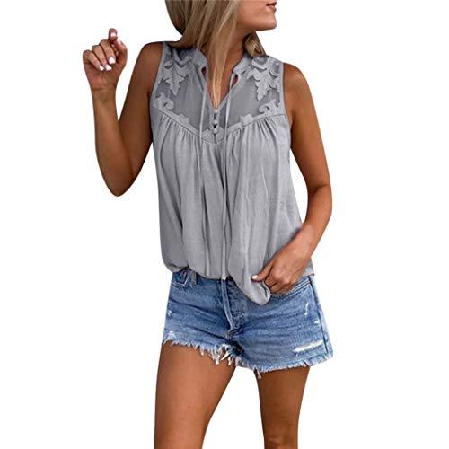 KIMODO Damen Bluse Einfarbig Spitze Nähen V-Ausschnitt Weste T Shirt Mode Chiffon Tank Top Sommer Ärmellos Shirt Oberteile