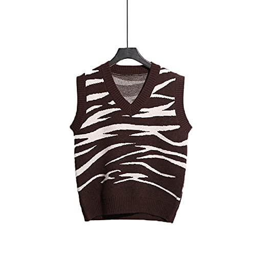 Maglione Gilet Donna,Gilet Lavorati A Maglia Da Donna Maglioni Eleganti Chic Con Motivo A Zebra Design Sciolto Scollo A V Gilet In Maglia Maglioni Senza Maniche Camicetta A Canotta Per Autunno Inver
