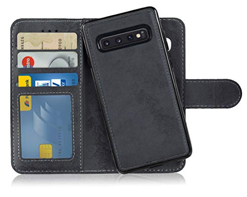MyGadget Flip Case Handyhülle für Samsung Galaxy S10 - Magnetische Hülle in PU Leder Klapphülle - Kartenfach Schutzhülle Wallet - Schwarz