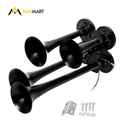 AUXMART Universal 12V/24V 150db 4 Trumpet Air Horn for Vehicle Car Van Truck Boat Lorry Train