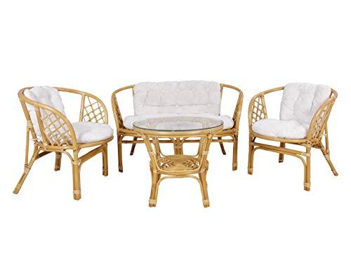 Mirjan24 Gartenmöbel Bahama, Bambus mit Rattangeflecht, 2 Sessel, 1 Sofa, 1 Tisch, Sitzgruppe Essgruppe Set, Möbel für Garten, Gartenset, Sitzgarnitur (Wild Natural + Weiß)