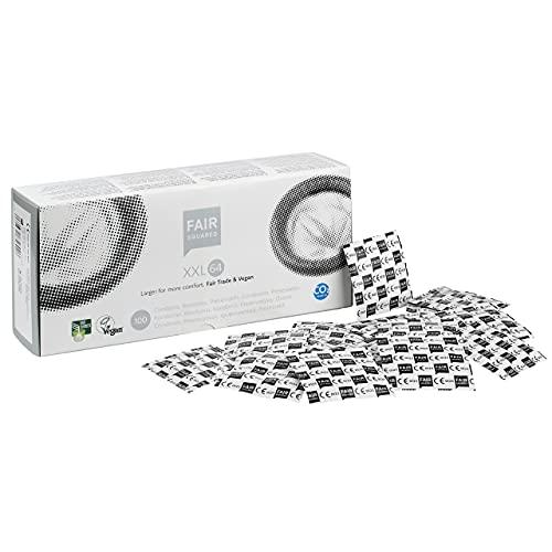 Fair Squared Preservativos XXL, 100 unidades, envueltos individualmente, 64 mm, extragrandes, de látex natural de comercio justo, vegano