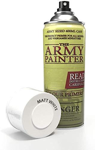 The Army Painter | Base Primer Matt White | Spray Acrilico Base per Pittura di Modellini in Miniatura | Bianco