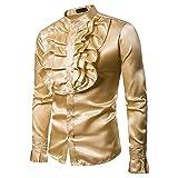 Casuales Camisas Hombre Moderna Urbana Moda Color Sólido Slim Fit Hombre Shirt Collar Pie Cardigan Hombre Disfraces Espectáculo Otoño Invierno Británico Sir Hombre Manga Larga