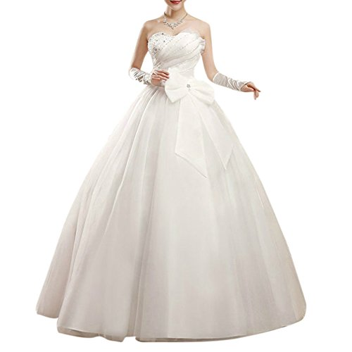 Prinzessin Langes Kleid Trägerlos Hochzeitskleid Mit Schnuerung Beige XL