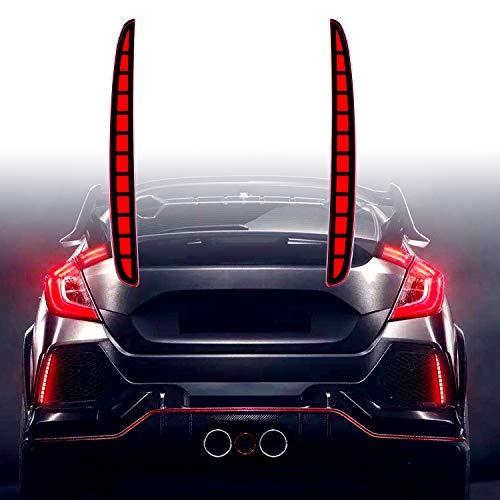KE-KE Full LED Red Lens Bumper Reflector Lights for 2017 2018 2019 Honda Civic Hatchback Type-R 16-18 or SI 4-Door Sedan Tail Brake Rear Fog Lamps (Red)