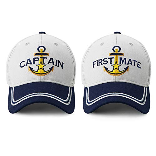 Captain Hat & First Mate | Matching Skipper Boating Baseball Caps | Nautical Marine Sailor Navy Hats