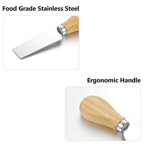 Cheese Knife and Fork Set for Charcuterie Board with Spreader,4 Pieces Stainless Steel Cheese Knives,Butter Knife,Spatula & Fork Set with Bamboo Wood Handle,Cheese Cutter Slicer Shaver Fork Tool