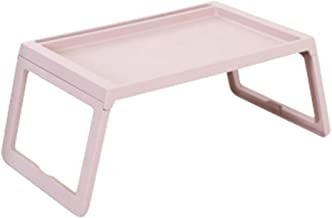 Blesiya Unique Practical Plastic Standing Desk Breakfast Reading Working Bed Besk Camping Tray Holder Lightweight - Pink