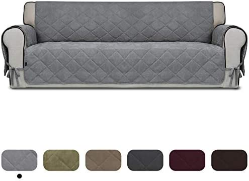 Best Easy-Going Micro Suede Sofa Slipcover Oversized Sofa Cover Couch Cover with Three Pockets Quilted Pe