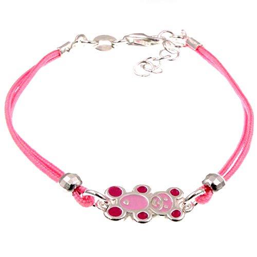 Gioielli Aurum - Pulsera para niña y mujer de plata 925 y algodón rosa con colgante de oso