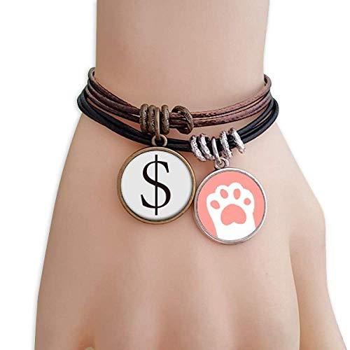 DIYthinker Damen WähLaufengssymbol US-Dollar Katzen-Armband-Leder-Seil-Armband Paar Sets