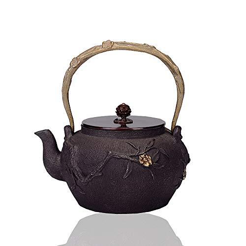 Tetera de hierro fundido Sin recubrimiento Pig Iron Pot Tetera de hierro fundido resistente al calor caldera 1200ml Tetera Un Una persona tetera de estilo japonés Para té de hojas sueltas y bolsitas d