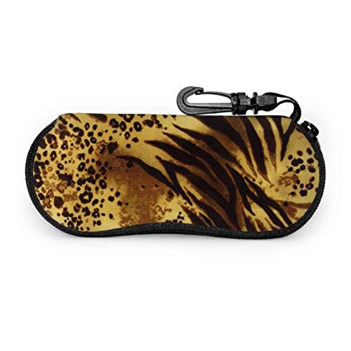 Patrón Tiger Stripes Print Animal Safari Gafas de sol Funda Mujer Gafas de sol personalizadas Funda ligera Neopreno con cremallera Estuche blando Gafas de sol lindas Estuche