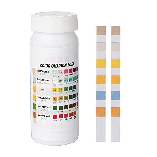 InnerSetting 50pcs 6 en 1 tira de prueba de dureza de la alcalinidad del papel de prueba del pH de la piscina del balneario