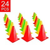 Super Z Outlet 7.5' Bright Neon Colored Orange, Yellow, Red, Green Cones Sports Equipment for Fitness Training, Traffic Safety Practice (24 Pack)