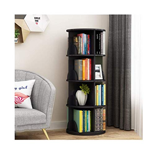 COLiJOL Book Rack Bookcase 360 Degree Rotating Bookshelf Round Multi-Layer Rack Save Space Floor-Standing Bookcase(Color : Teak Color, Size : 4 Tier)/Black/4 Tier