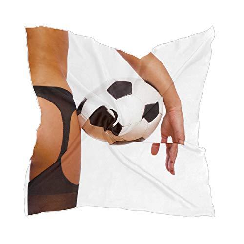 XiangHeFu Tocado fino y fino Chica Bufanda de seda Pañuelo Chica sexy con balón de fútbol Fútbol Gasa