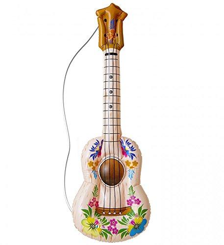 shoperama Aufblasbare Hawaii Gitarre mit Blumen Hula Beach Luftgitarre Party Scherzartikel