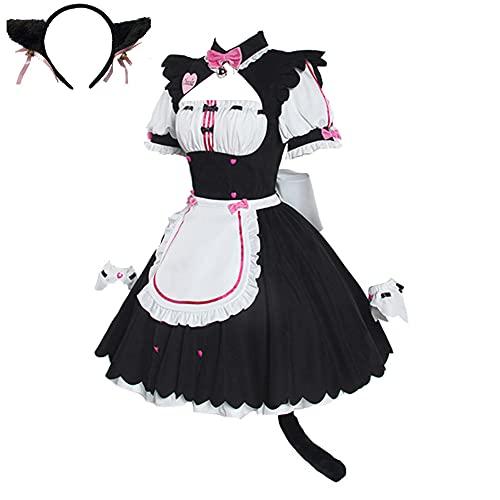 LSLRAD Nekopara Anime Cosplay Chocola Maid Uniforms Dresses Halloween Party Costumes (Small) Pink