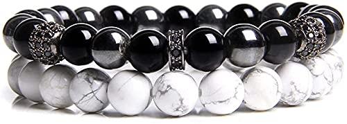 Plztou Pulsera con Cuentas 2 unids Set Pulsera de Hombres Piedra Natural Hematita Beads Pulsera Moda 8mm Agates de Piedra Agates Beaded Charm Pulsera Joyería