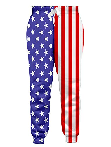 RAISEVERN Unisex Jogger Pants Cool 3D Blue Stars and Red Striped Flag Graphic Printed Sweatpants Sportwear Casual Trousers with Drawstring Pockets Baggy Jogging Pants for Men Women