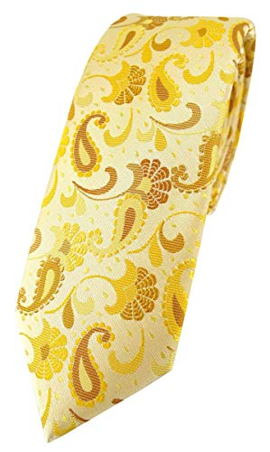 TigerTie - schmale Designer Krawatte in gelb senfgelb gold Paisley gemustert