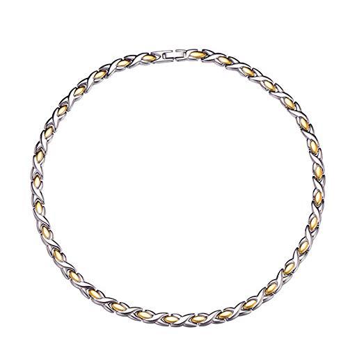 Mode Völlig Eingelegte Magnetgesundheitskette Rostfreier Stahl IP-Vergoldung Goldkette Herren Allergie Anti-Fading