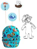 Caleidolex Back Set 'Pirata': 60Unidades Moldes para Magdalenas & 1Pieza de Galletas Pirata & 12Palillos Decorativos. 3Modelos Surtidos–Molde para Magdalenas–Muffin–Cupcake–Moldes
