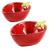CROWNXZQ 2 Ensalada de cerámica Cuenco, Cereal Fresa En Forma de Sopa Frutas Plato para Niños Alimentos Alimentos Salsa Forma Dip Condenamiento Sirva Snack Fruta Aperitivo Postre