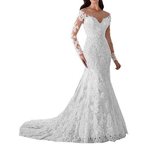 Nanger Damen Lange Meerjungfrau Spitze Hochzeitskleider mit Ärmel Brautkleider Weiß 38