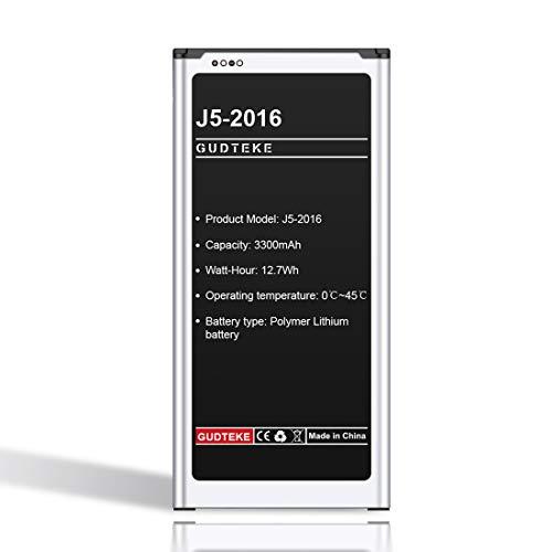 GUDTEKE Batería 3300mAh para Samsung Galaxy J5 (2016), EB-BJ510CBE, SM-J510FN