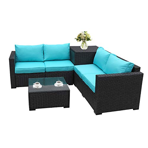 Patio PE Wicker Furniture Set 4 Piece Outdoor Black Rattan Sectional Loveseat Couch Set Conversation Sofa with Storage Table Turquoise Cushion
