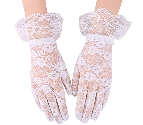 Simplicity Bridal Gloves Lace Wrist Length Special Occasion Wear, White, Long