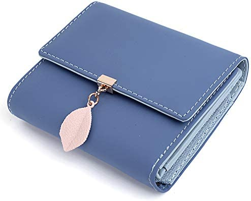 UTO Small Wallet for Women PU Leather Leaf Pendant Card Holder Organizer Zipper Coin Purse A product image