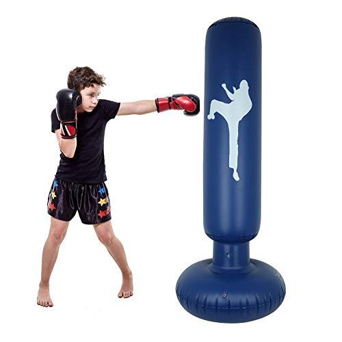 YXMG Boxsack, Standboxsack Inflatable Punching Säule für Kinder und Erwachsene ab 6 Jahren zu üben Karate,Blau