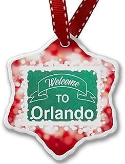 VinMea Christmas Ornament Green Sign Welcome to Orlando, red Xmas Decorative Hanging Ornament