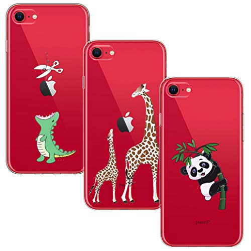 Yoowei [3-Pack] Cover per iPhone SE 2020, Cover iPhone 8, Cover iPhone 7 Trasparente con Disegni, Morbida Silicone Ultra Sottile TPU Gel Custodia Protettiva, Dinosauro Verde + Giraffa + Panda