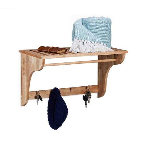 Relaxdays Garderobe wandplank van walnoot, houten plank voor badkamer, keuken, hal, garderobelijst HxBxD 35 x 60 x 30 cm, natuur